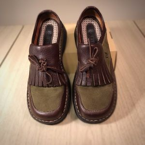 Born brown leather and moss green suede loafers
